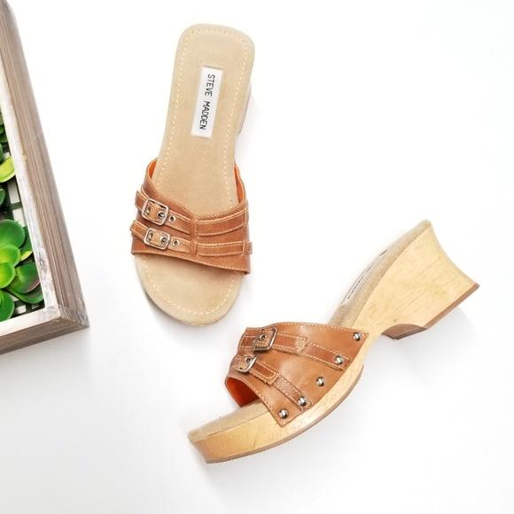 6d6830b2997 Steve Madden Brat Wooden heel sandals